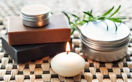 Spa still life with soap and candle Royalty Free Stock Photos