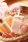 Spa still life with soap, sea salt and flower petals Royalty Free Stock Photos