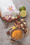 Spa still life. Some of spices and fruits used in traditional Balinese treatments Stock Image