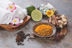 Spa still life. Some of spices and fruits used in traditional Balinese treatments Royalty Free Stock Photo