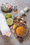 Spa still life. Some of spices and fruits used in traditional Balinese treatments Stock Photos