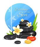 Spa still life with stack of stones, burning aroma candles, bamboo leafs and frangipani flowers. Zen Garden. Harmony and balance. Vector illustration Stock Image