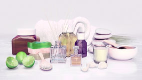 Spa still life with stack of stones, candle and cosmetic clay. Stock Photos