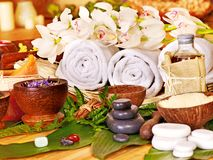 Spa still life with stone. Spa still life with leaf and massage stone royalty free stock photo
