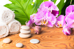 Spa still life with stone, leaves, lilac orchid and white towel royalty free stock photography