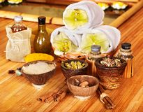 Spa still life  with towel. Royalty Free Stock Images