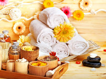 Spa still life  with towel. Stock Photos
