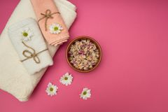 Spa still life with towel,white flowes stock photos