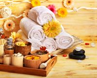 Spa still life  with towel in wood spa. Royalty Free Stock Photos
