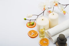 Spa still. Life with towels, candles and fragrances Royalty Free Stock Photography