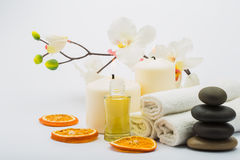 Spa still. Life with towels, candles and fragrances Stock Photo
