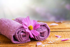 Spa still life with towels and flower Stock Images