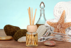Spa still life with vanilla reed diffuser Stock Image