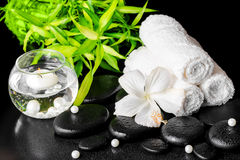 Spa still life of white hibiscus flower, bamboo, towels  Stock Images