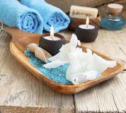 Spa Still Life with White Lilies and Burning Candles Stock Image