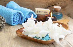 Spa Still Life with White Lilies Stock Photo