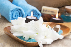 Spa Still Life with White Lilies Stock Image