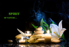 Spa still life. With white lily, stones and  burning candles on  black bright table with water drop,  dark background Stock Photos