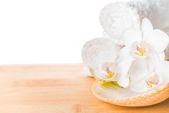 Spa still life with white orchid, shell and towel on wood Royalty Free Stock Photo