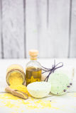 SPA still life on white wooden backgroun Royalty Free Stock Photography