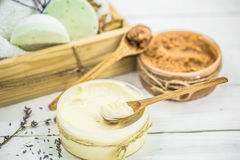 SPA still life on white wooden backgroun Royalty Free Stock Images