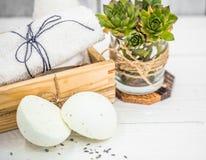 SPA still life on white wooden backgroun royalty free stock photos
