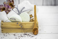 SPA still life on white wooden backgroun Stock Photography