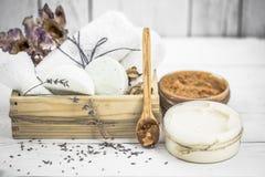 SPA still life on white wooden backgroun Stock Photo
