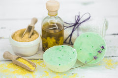 SPA still life on white wooden backgroun Royalty Free Stock Image