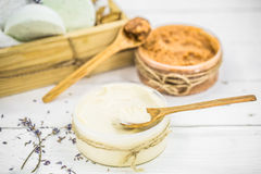SPA still life on white wooden backgroun Stock Images