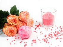 Spa Still Life With Bath Bombs And Rose. Royalty Free Stock Photos