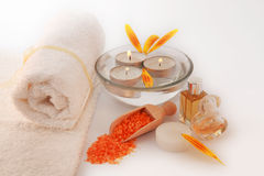 SPA Still Life With Sea Salt, Towels, Flower Petals. Stock Image