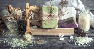 Spa still life on a wooden background stock images