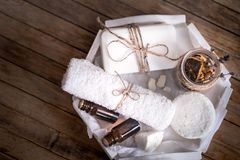Spa still life on a wooden background stock photography