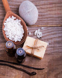 Spa still life on the wooden background, top view. Stock Photo