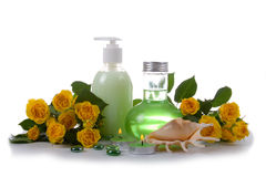 Spa still life with yellow roses Stock Images
