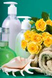 Spa still life with yellow roses Stock Image