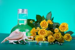 Spa still life with yellow roses Stock Photography