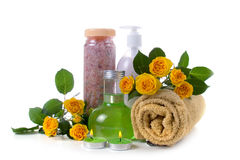 Spa still life with yellow roses Royalty Free Stock Photo
