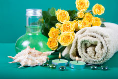 Spa still life with yellow roses Royalty Free Stock Image