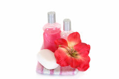 Spa still live. Spa essentials for daily hygiene on white background Stock Images