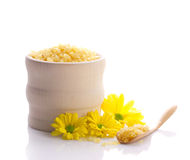 Spa still with sea salt and flowers stock images