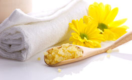 Spa still, towel, salts and flower Royalty Free Stock Images