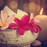 Spa stillebeninställning med aromatiska stearinljus Royaltyfri Fotografi