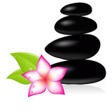 Spa stone. And pink beautiful flower. Vector illustration Royalty Free Stock Photos