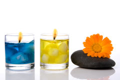 Spa stone  flower candle Stock Images