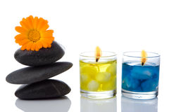 Spa stone  flower candle Stock Photos