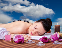 Spa. Stone Massage Royalty Free Stock Photo