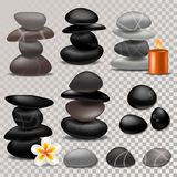 Spa stone vector zen stony therapy for beauty health and relaxation illustration of natural stoning treatment set. Isolated on transparent background Royalty Free Stock Photos