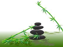 Spa stones. With bamboo twigs in water Stock Photo